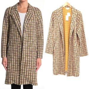 NEW Melloday Notch Lapel Long Knit Jacket Plaid